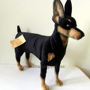 Shoppinghund, Stofftier, Pinscher, Dobermann, Stoffhund, Plüschtier, Hundegeschirr, Hundebademantel
